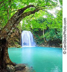 vízesés, kanchanaburi, erawan, thaiföld