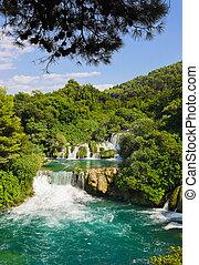 vízesés, krka, alatt, horvátország