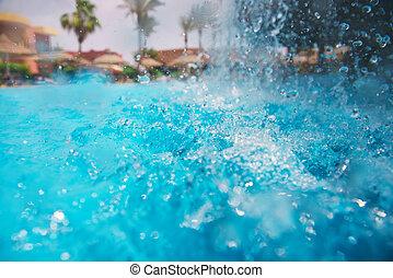 vízesés, pocsolya, úszás