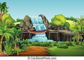 vízesés, táj, természet