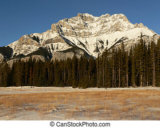 vízesés, tél, hegy