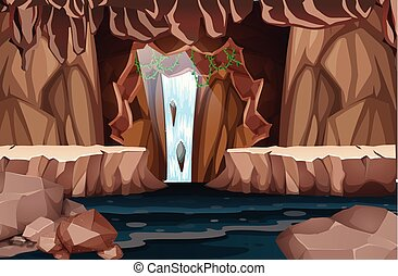 vízesés, természetes, barlang, táj