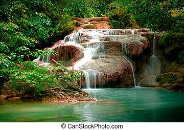 vízesés, thaiföld, erawan, erdő, mély