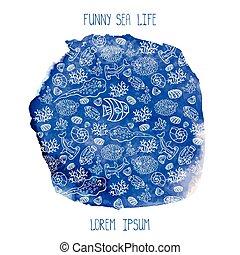vízfestmény, élet, furcsa, nyár, kék, egy korsó sör, tenger...
