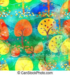 vízfestmény, ősz, fa, háttér