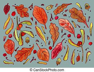 vízfestmény, fa, zöld, ősz, szemesedik, bogyók