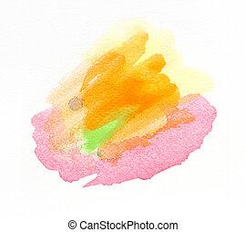 vízfestmény, festett, kéz, háttér