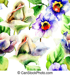 vízfestmény festmény, noha, agancsrózsák, és, nárcisz, menstruáció