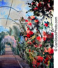 vízfestmény festmény, noha, virágzó, agancsrózsák, alatt, olvasó