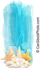 vízfestmény, nyár, transzparens, függőleges