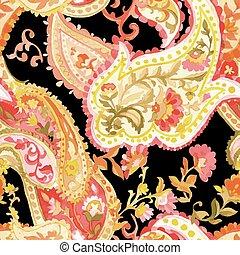 vízfestmény, paisley, pattern., seamless