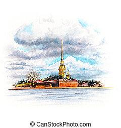 vízfestmény, petersburg, oroszország, szent