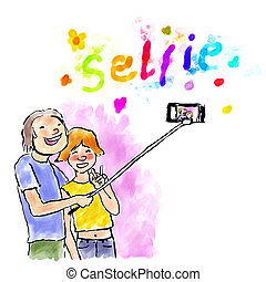 vízfestmény, selfie, digitális