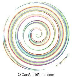 vízfestmény, spirál, színes