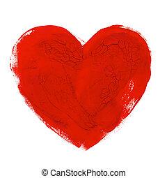 vízfestmény, szív, kéz, húzott, ábra, aquarelle, festmény