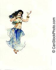 vízfestmény, táncos, has