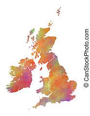 vízfestmény, térkép, nagy-britannia