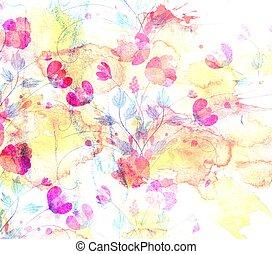 vízfestmény, virág