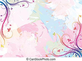 vízfestmény, virágos, háttér