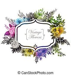 vízfestmény, virágos, keret, szüret