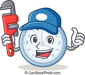 vízvezeték szerelő, óra, betű, mód, karikatúra
