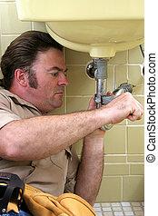 vízvezeték szerelő, alkalmaz, ficam