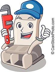 vízvezeték szerelő, apró alakzat, szék, karikatúra, masszázs