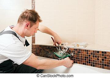 vízvezeték szerelő, beiktató, konyhai robotgép, csap, alatt,...