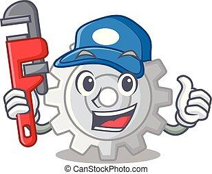 vízvezeték szerelő, bekapcsol, tervezés, karikatúra, legjobb, ikon