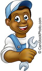 vízvezeték szerelő, betű, karikatúra, szerelő