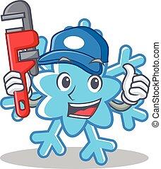 vízvezeték szerelő, betű, mód, karikatúra, hópehely