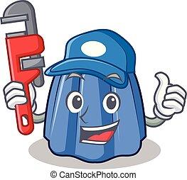 vízvezeték szerelő, betű, mód, karikatúra, zselé