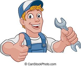 vízvezeték szerelő, ezermester, ficam, szerelő, csavarkulcs, karikatúra