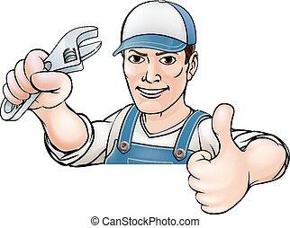 vízvezeték szerelő, feláll, karikatúra, lapozgat, szerelő, vagy