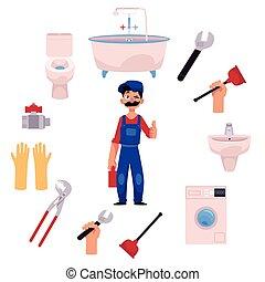 vízvezeték szerelő, feláll, vektor, lapozgat, csőhálózat házi, eszközök, ember
