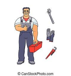 vízvezeték szerelő, feláll, vektor, lapozgat, eszközök, ember