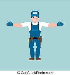 vízvezeték szerelő, happy., szolgáltatás, lakatos, munkás, ábra, cheerful., merry., vektor, katona