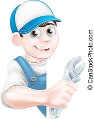 vízvezeték szerelő, karikatúra, szerelő, ember