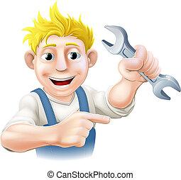 vízvezeték szerelő, karikatúra, szerelő, vagy