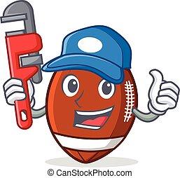 vízvezeték szerelő, labdarúgás, betű, amerikai, karikatúra