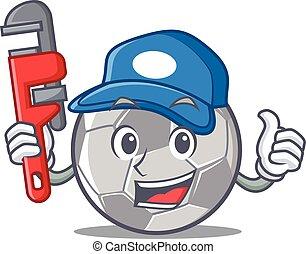 vízvezeték szerelő, labdarúgás, betű, karikatúra, mód