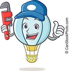 vízvezeték szerelő, levegő, betű, balloon, karikatúra