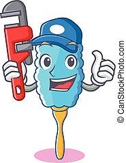 vízvezeték szerelő, porrongy, betű, tollazat, karikatúra