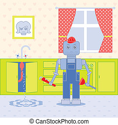 vízvezeték szerelő, robot1