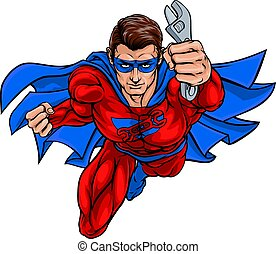 vízvezeték szerelő, superhero, hatalom ficam, csavarkulcs, szerelő