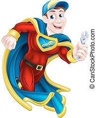 vízvezeték szerelő, superhero, vagy, szerelő