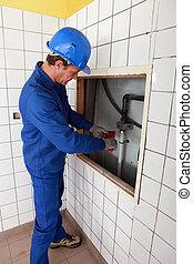 vízvezeték szerelő, szoba, dolgozó, cserép