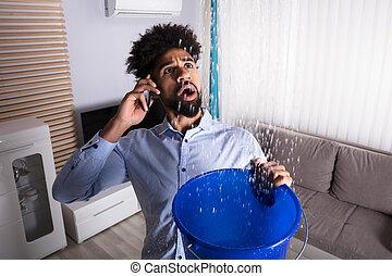 vízvezeték szerelő, vödör, hívás, víz, időz, esés, leakage, ember