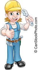 vízvezeték szerelő, vagy, birtok, csavarkulcs, szerelő, nő