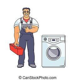vízvezeték szerelő, vektor, feláll, ember, lapozgat